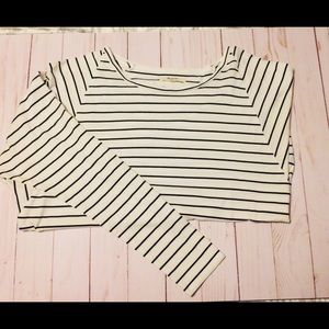 Madewell white and black stripe raglan sleeve top